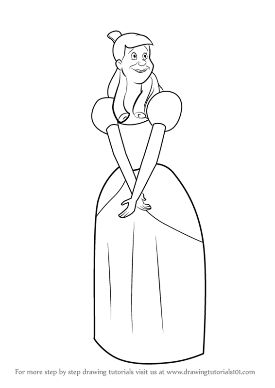 how to draw cinderella easy
