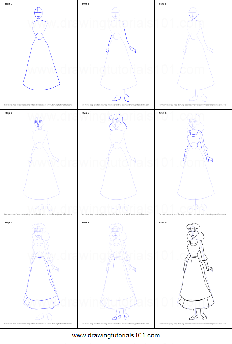 how to draw princess cinderella step by step