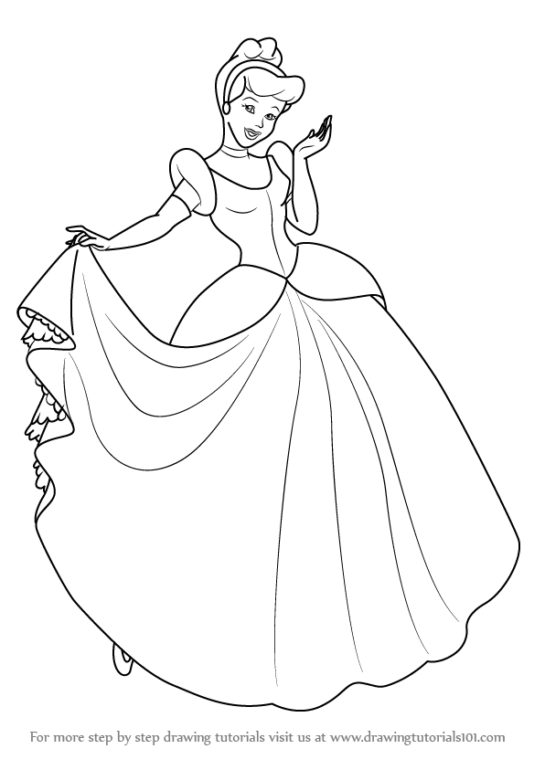 Learn How To Draw Princess Cinderella Cinderella Step By How To Draw Princess Cinderella Free Coloring Sheets