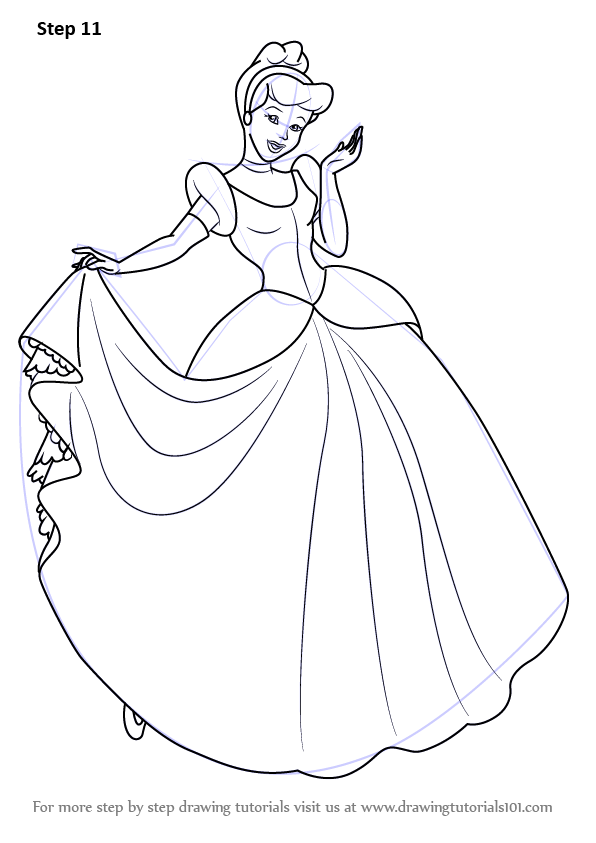 Learn How to Draw Princess Cinderella (Cinderella) Step by ...