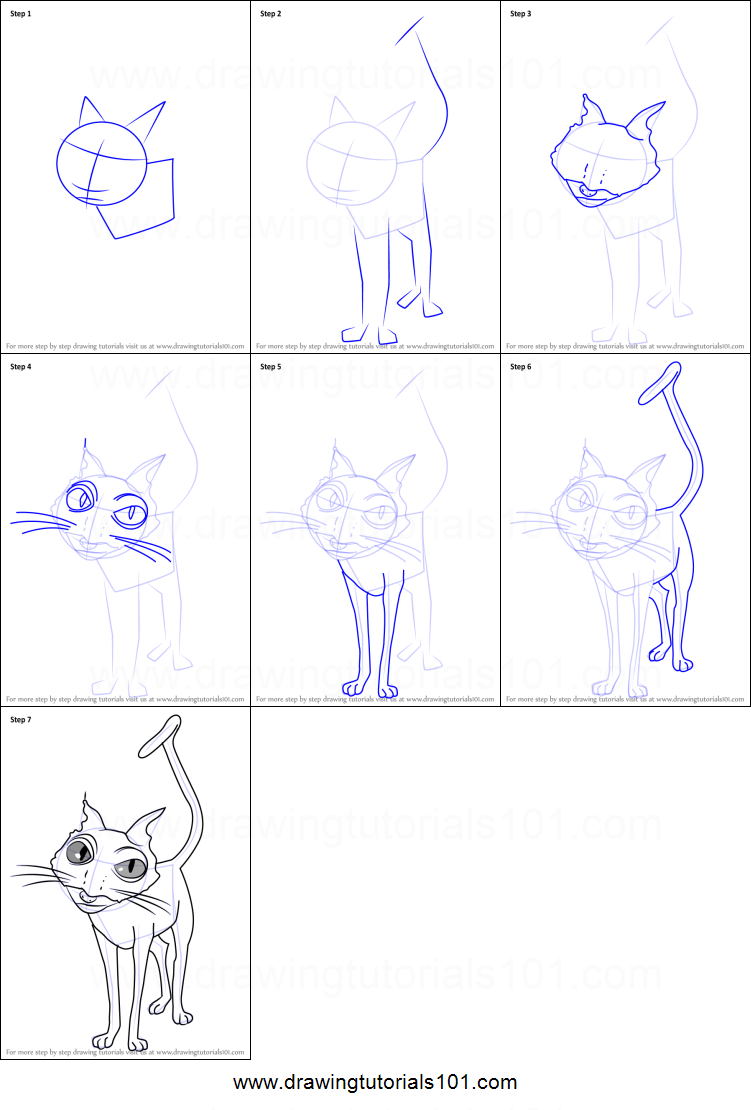 Step by step drawing tutorial on how to draw cat from coraline