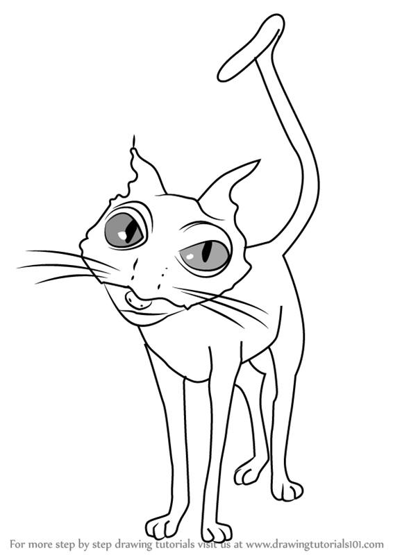 Step by step how to draw cat from coraline drawingtutorials101 com