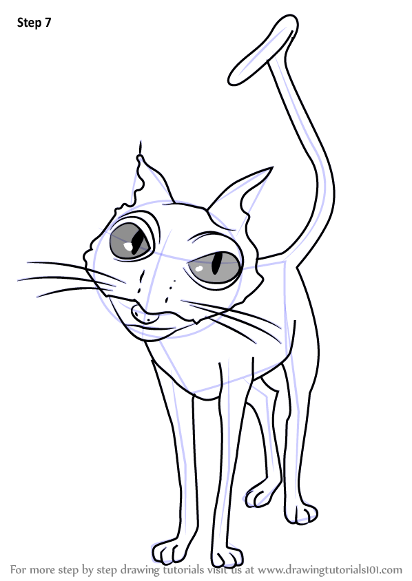 Learn How to Draw Cat from Coraline (Coraline) Step by Step : Drawing Tutorials