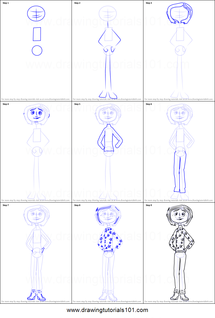 How To Draw Coraline Jones From Coraline Printable Step By Step Drawing Sheet Drawingtutorials101 Com