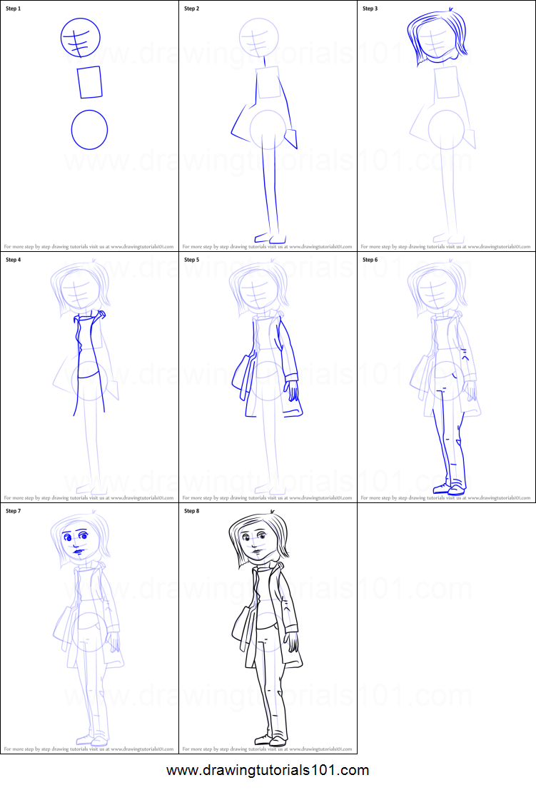 How To Draw Mel Jones From Coraline Printable Step By Step Drawing Sheet Drawingtutorials101 Com