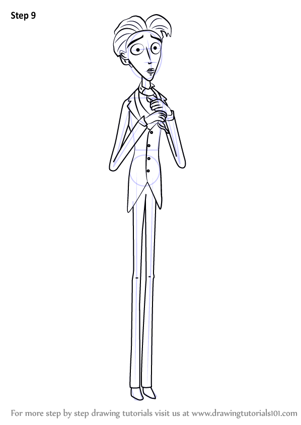 Step By Step How To Draw Victor Van Dort From Corpse Bride