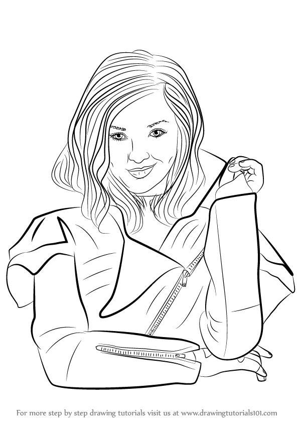mal coloring pages - learn how to draw mal from descendants descendants step