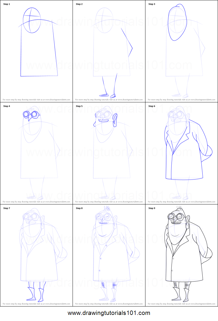 How to Draw Dr Nefario from Despicable Me printable step by step
