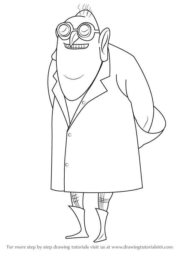 Step By Step How To Draw Dr Nefario From Despicable Me