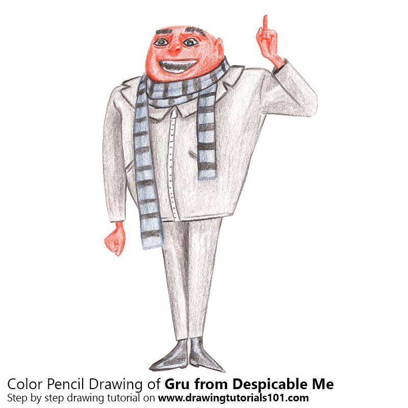 Gru from Despicable Me Color Pencil Drawing