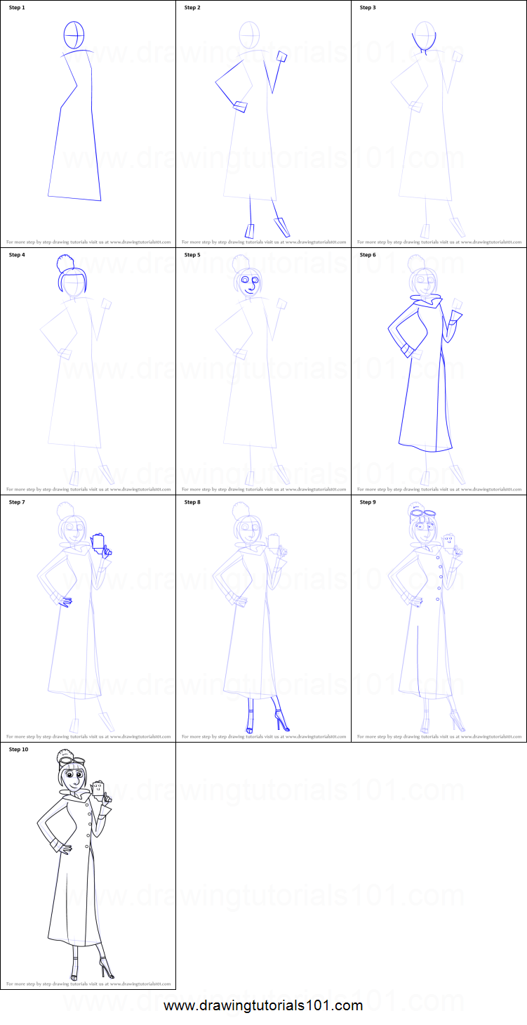 How to draw lucy wilde from despicable me printable step by step how to draw lucy wilde from despicable me altavistaventures Images