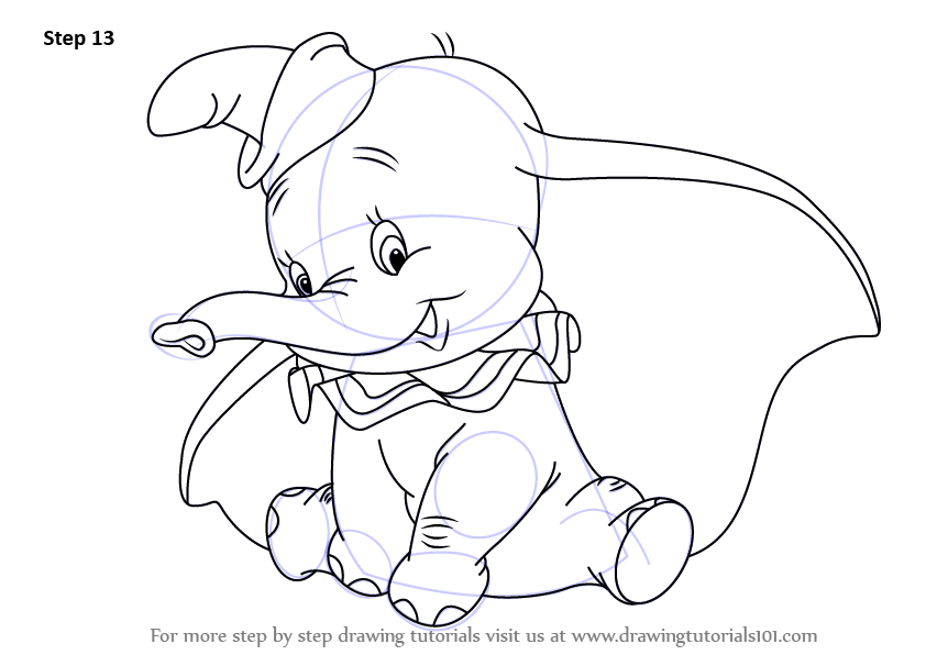 learn how to draw dumbo elephant from dumbo dumbo step
