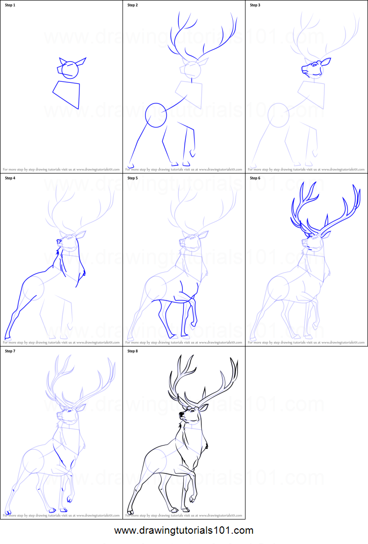 How to draw the elk from fantasia printable step by step for How to draw a deer step by step