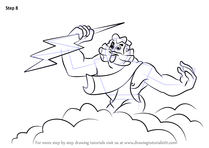 Line Drawing Of Zeus : Learn how to draw zeus from fantasia step by