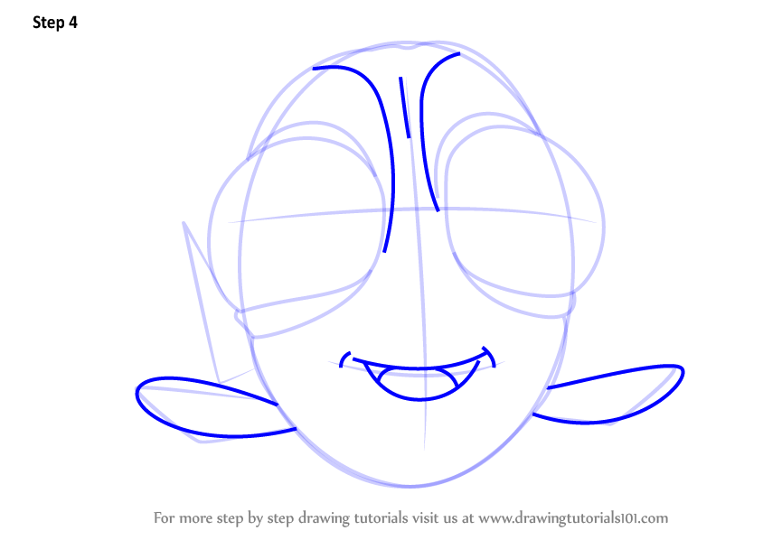 how to draw dory step by step