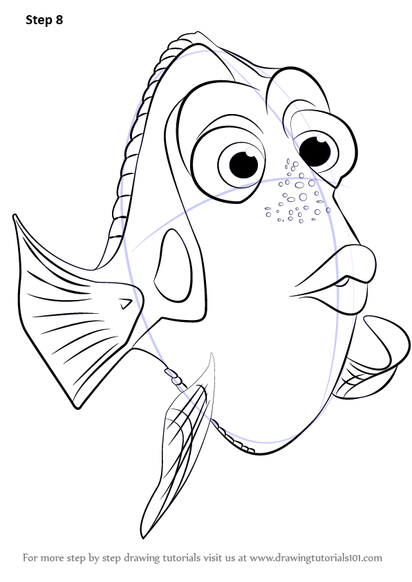 Step by Step How to Draw Dory from Finding Dory ...