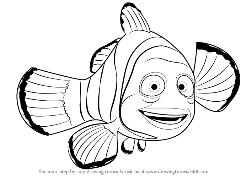 Step By Step How To Draw Marlin From Finding Nemo