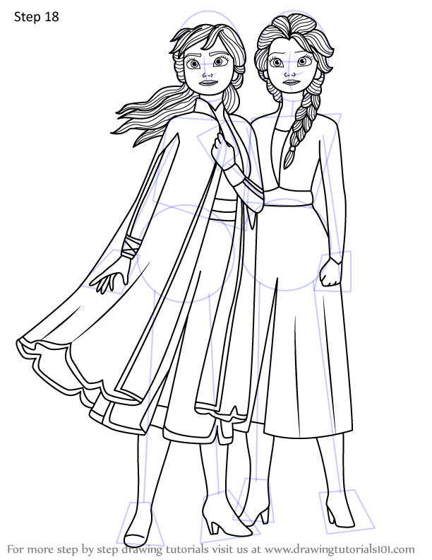 Learn How to Draw Anna and Elsa from Frozen 2 (Frozen 2 ...
