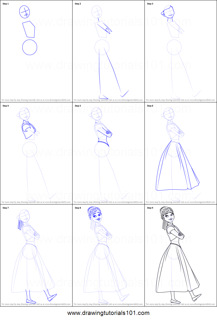 How to Draw Anna from Frozen Fever printable step by step
