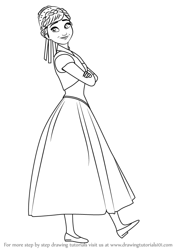 Step by Step Drawing tutorial on How to Draw Anna from Frozen Fever