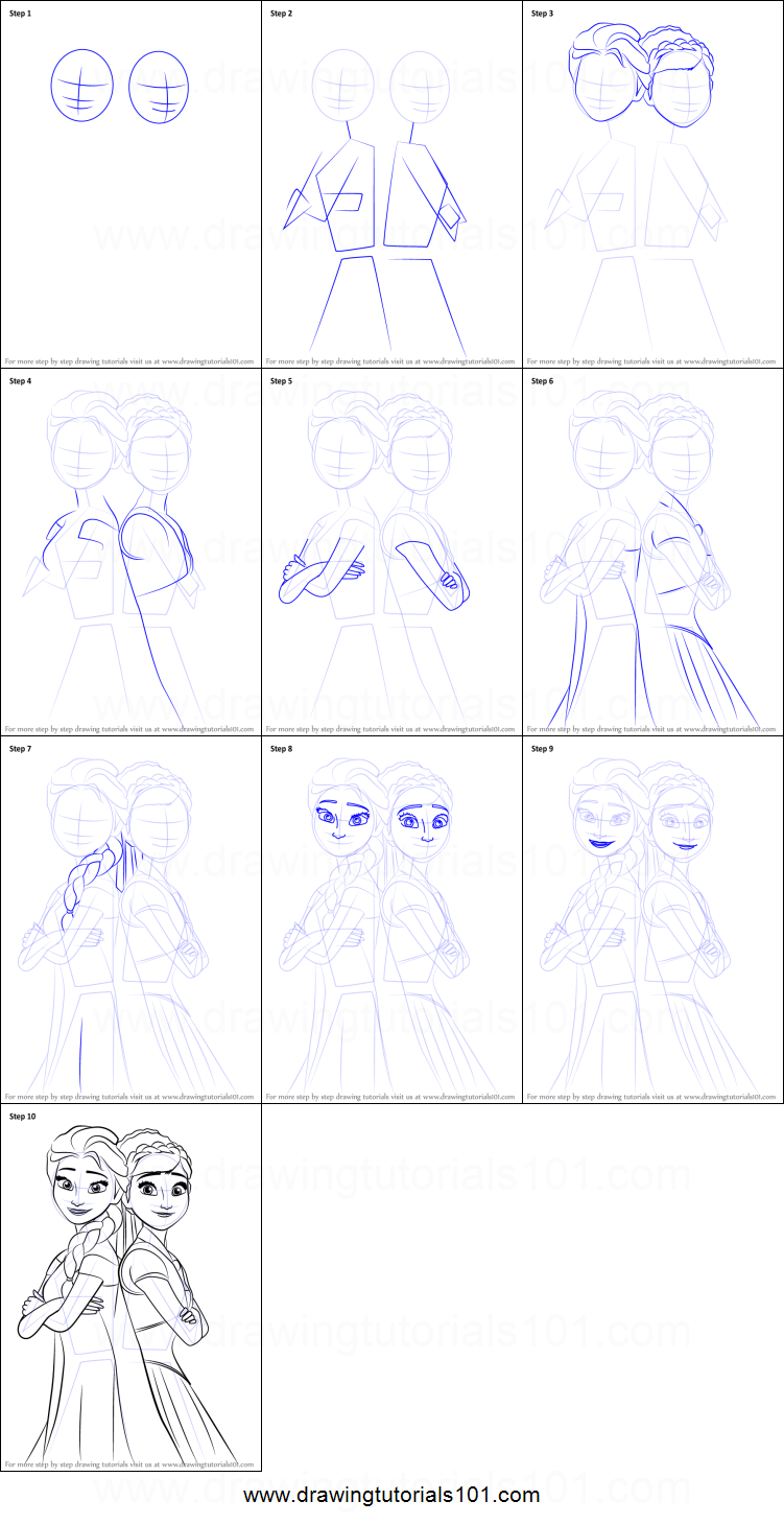 how to draw elsa and anna from frozen fever printable step by step drawing sheet drawingtutorials101com