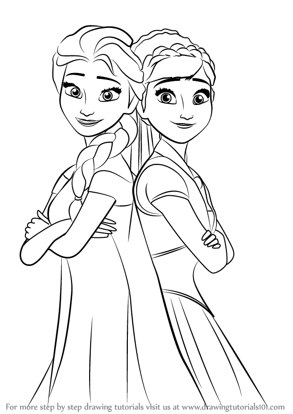 Learn How To Draw Elsa And Anna From Frozen Fever Frozen Fever