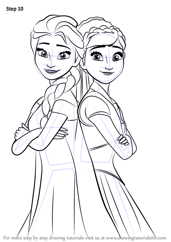 Step by Step How to Draw Elsa and Anna from Frozen Fever