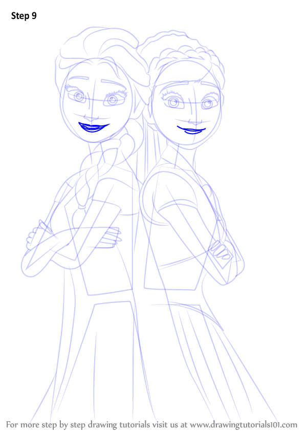 Learn How to Draw Elsa and Anna from Frozen Fever (Frozen ... Disney Frozen Drawings Olaf