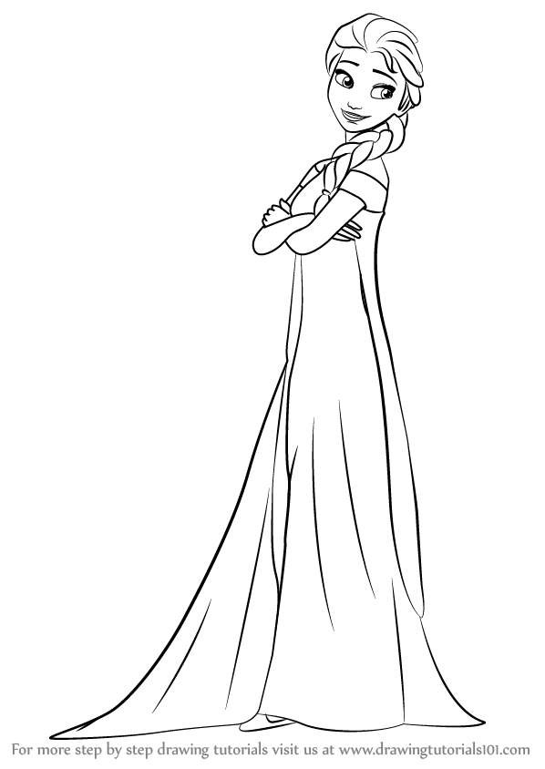 Learn How To Draw Elsa From Frozen Fever Frozen Fever Step By Step Drawing Tutorials