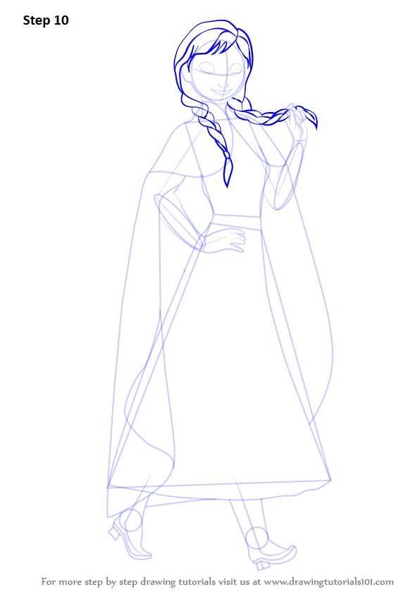 Learn How to Draw Anna from Frozen (Frozen) Step by Step : Drawing ...