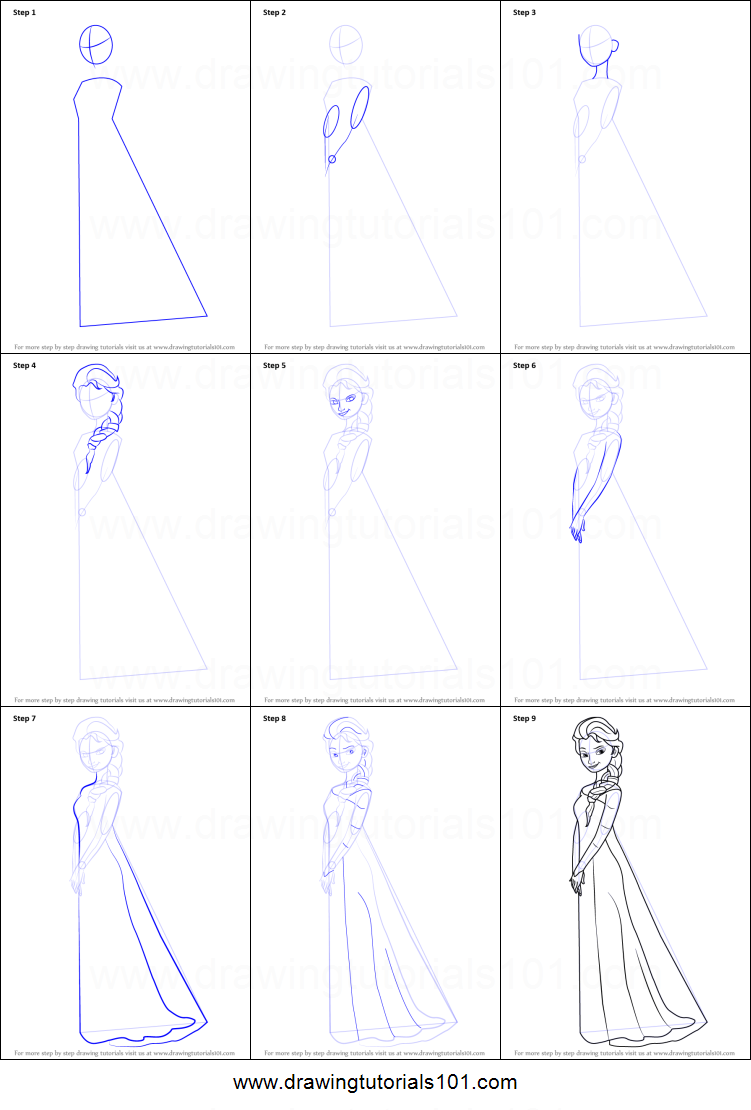 how to draw elsa from frozen printable step by step drawing sheet drawingtutorials101com