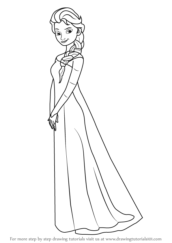 Learn how to draw elsa from frozen frozen step by step for Learn to draw cartoons step by step lessons