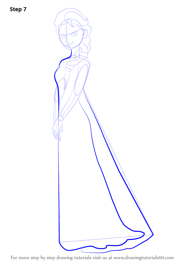 Learn how to draw elsa from frozen frozen step by step drawing enhance the outline for her dress voltagebd Image collections