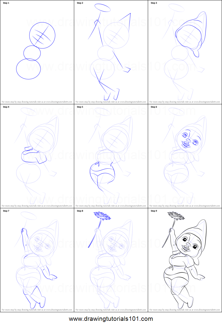 how to draw dolly gnome from gnomeo u0026 juliet printable step by