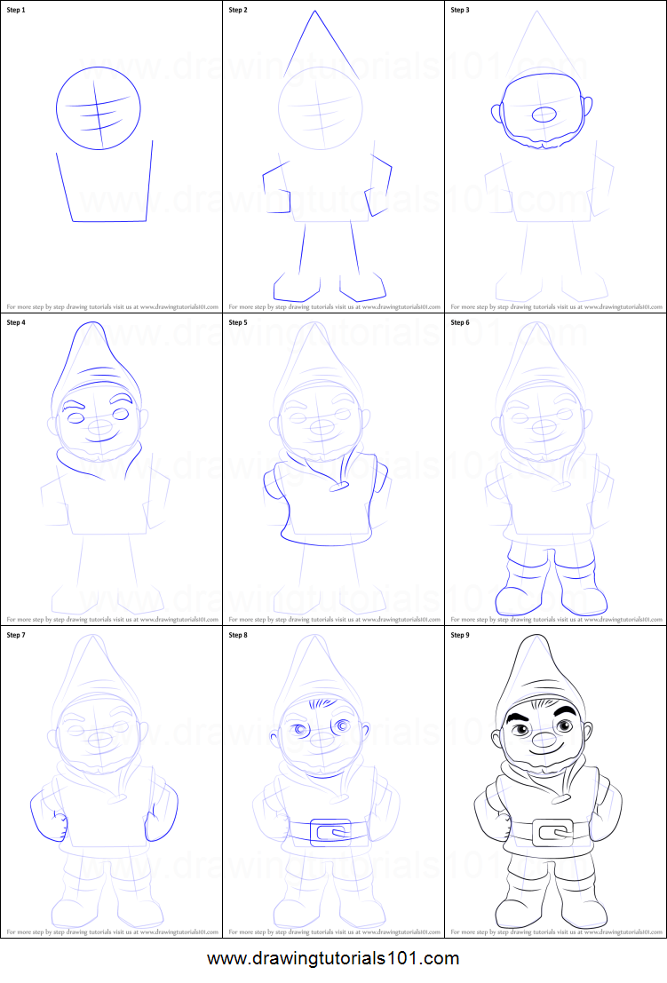 how to draw gnomeo from gnomeo u0026 juliet printable step by step