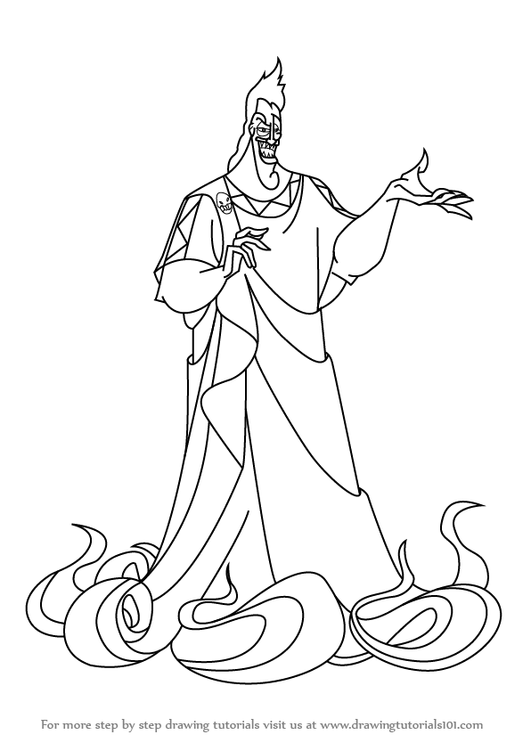 Learn how to draw hades from hercules hercules step by for Hades coloring page