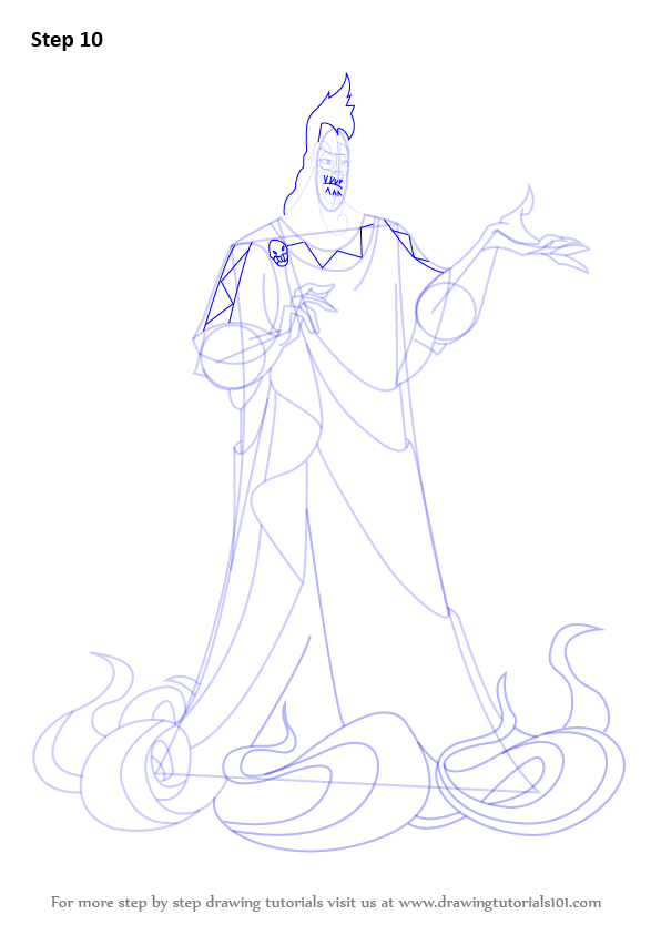 Step By Step How To Draw Hades From Hercules Drawingtutorials101com