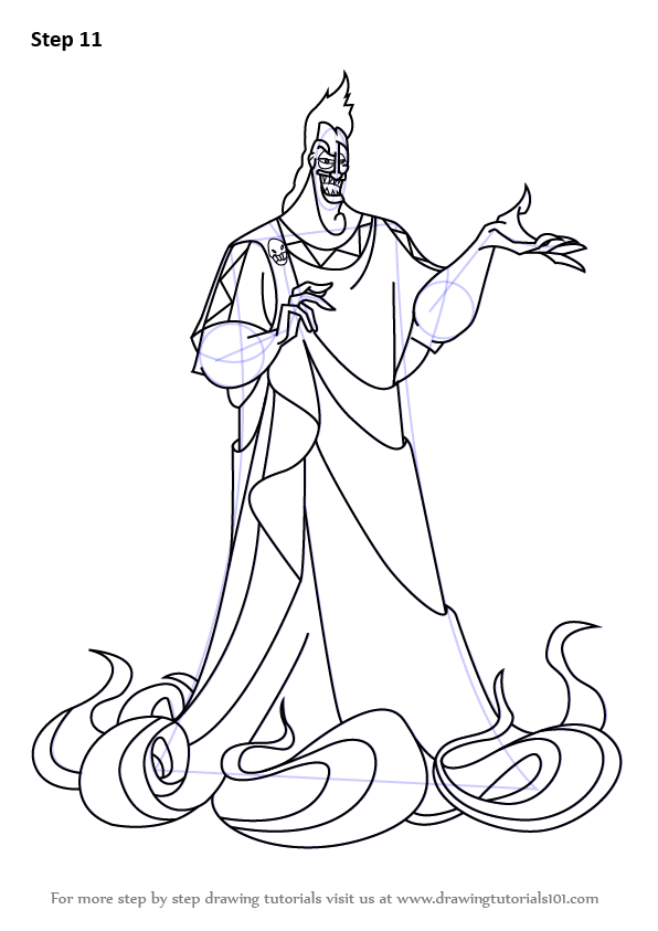 Step by step how to draw hades from hercules for Hades coloring page
