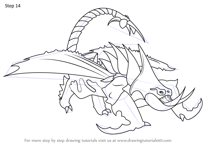 Learn How To Draw Grimmel S Deathgrippers From How To Train Your Dragon 3 How To Train Your Dragon 3 Step By Step Drawing Tutorials