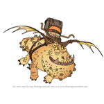 How to Draw Meatlug from How To Train Your Dragon 3