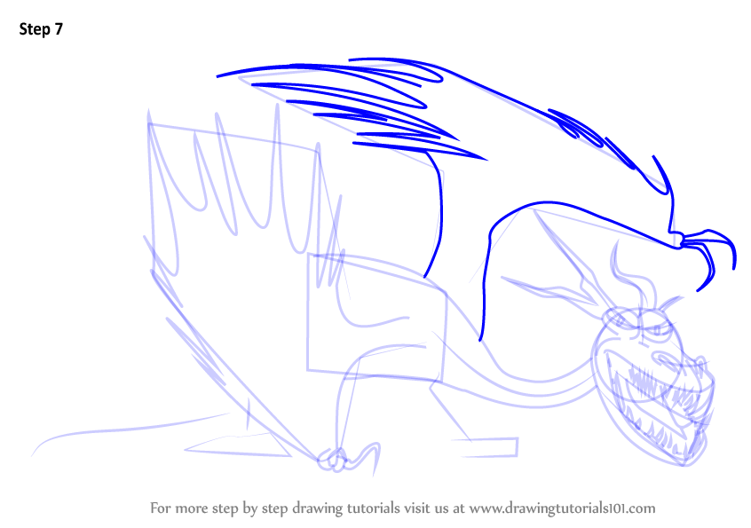 Step by Step How to Draw Hookfang from How to Train Your