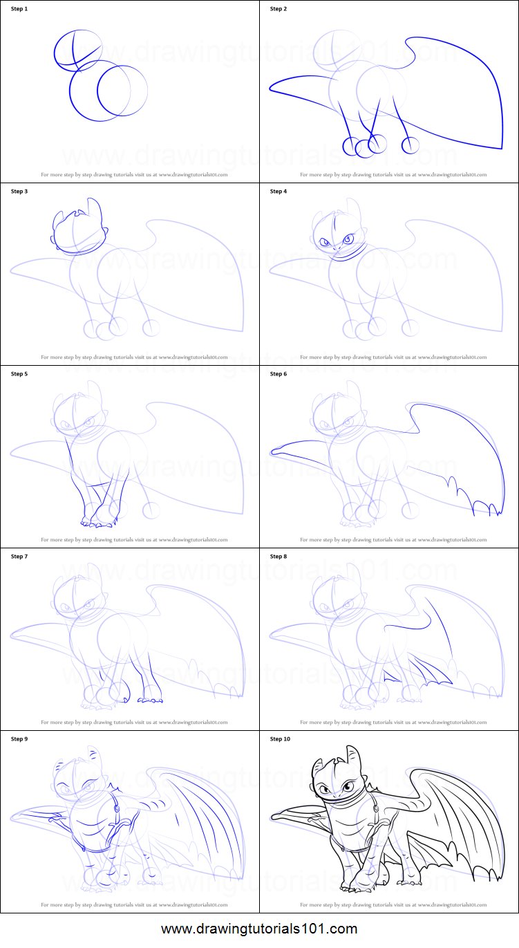 How to draw Toothless 10