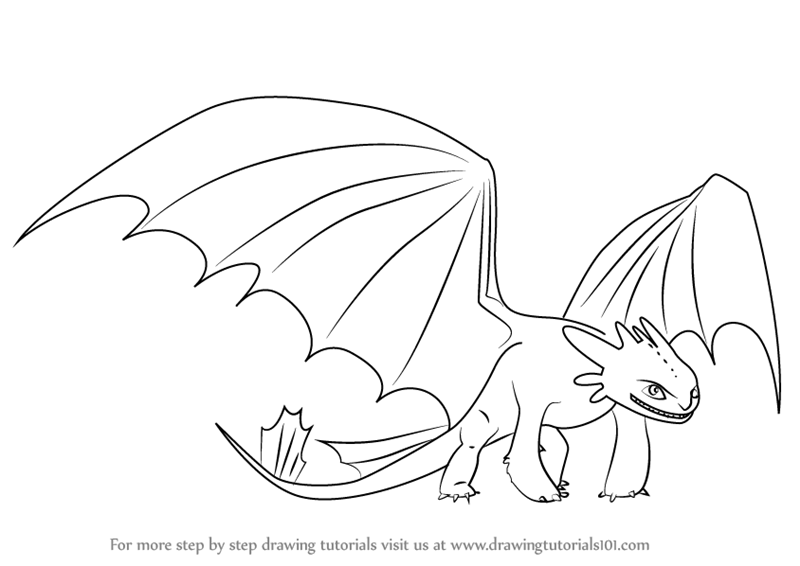 Learn How To Draw Night Fury From How To Train Your Dragon How To