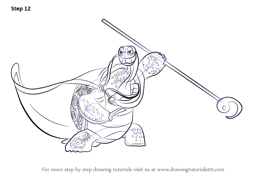 Step By Step How To Draw Oogway From Kung Fu Panda 3