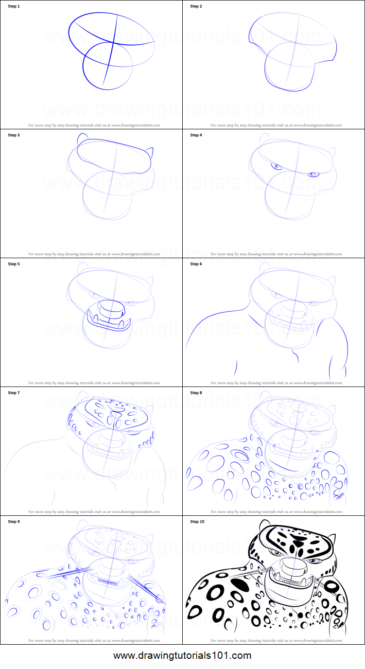 Step by step drawing tutorial on how to draw tai lung from kung fu panda 3