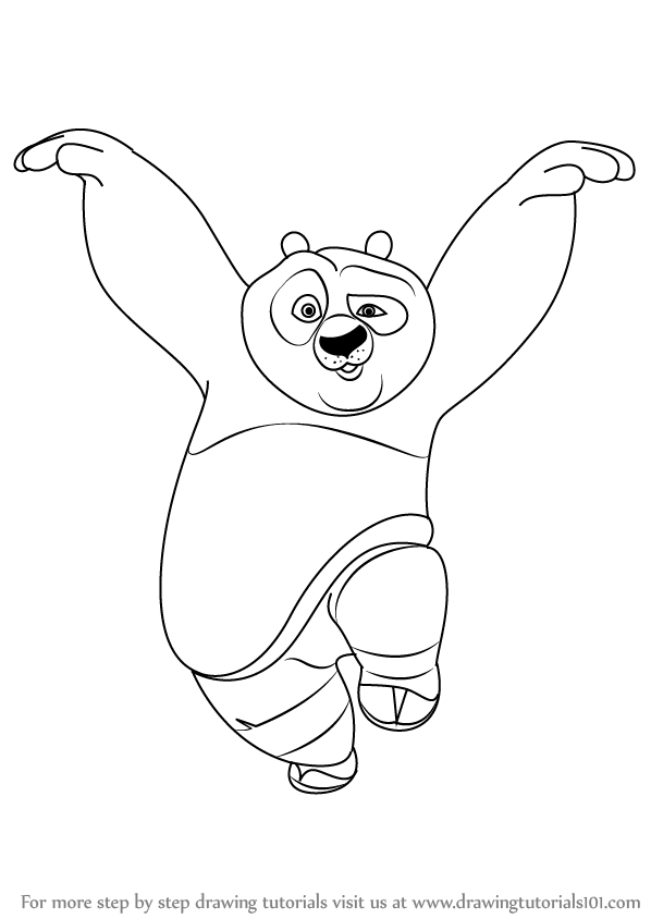learn how to draw po giant panda from kung fu panda kung fu panda