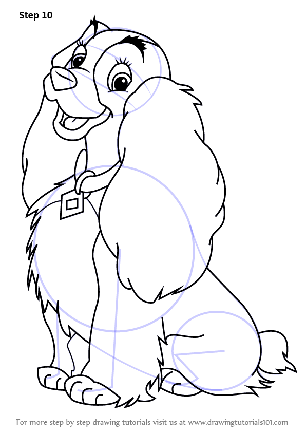 Learn How To Draw Lady From Lady And The Tramp Lady And The Tramp Step By Step Drawing Tutorials