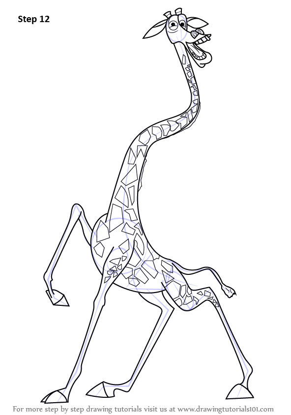 Step By Step How To Draw Melman The Giraffe From