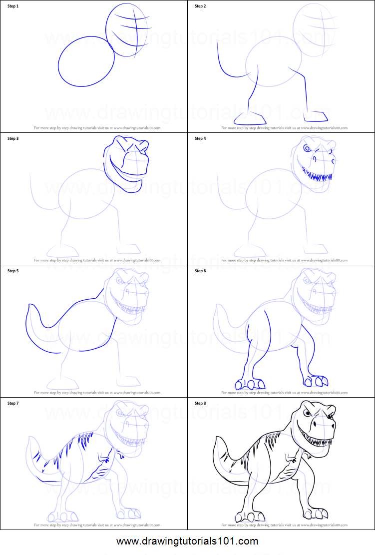 How to Draw Tiny the T-Rex from Meet the Robinsons ...