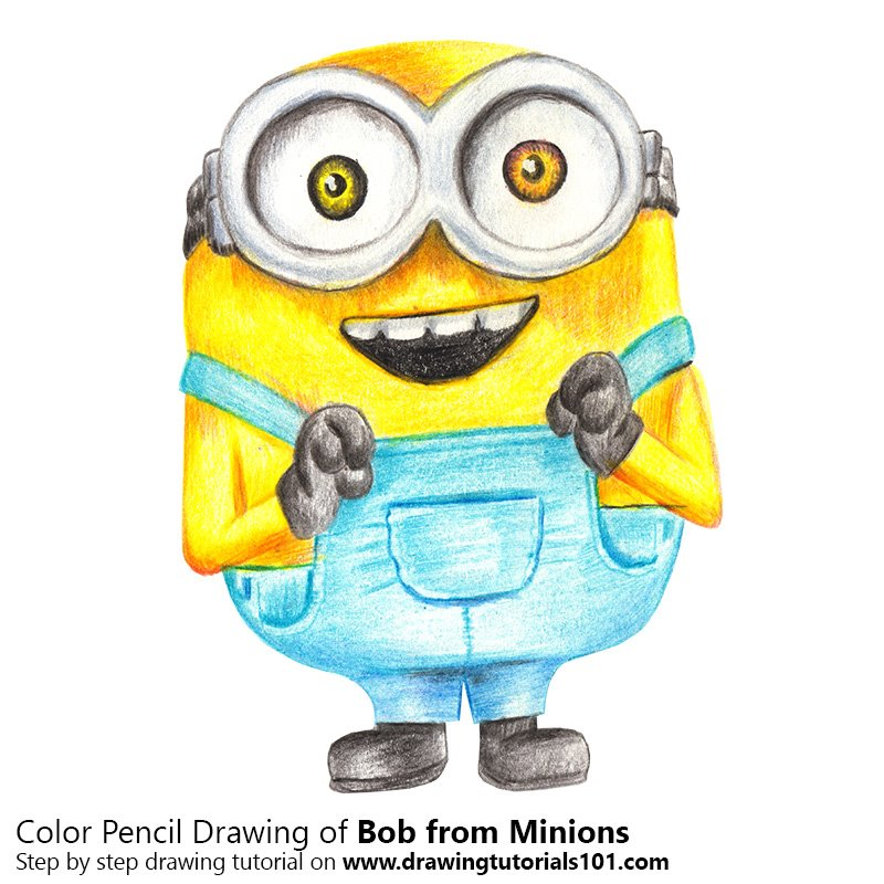 Bob From Minions Colored Pencils Drawing Bob From Minions With